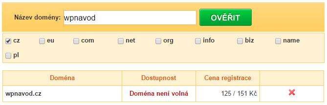 Doménové jméno - registrace